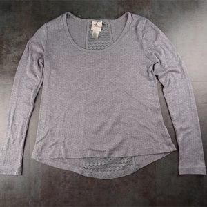 Self Esteem Perforated Gray Lace Back Shirt Large